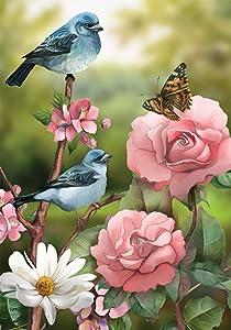 """Briarwood Lane in The Garden Spring Garden Flag Floral Birds 12.5"""" x 18"""""""