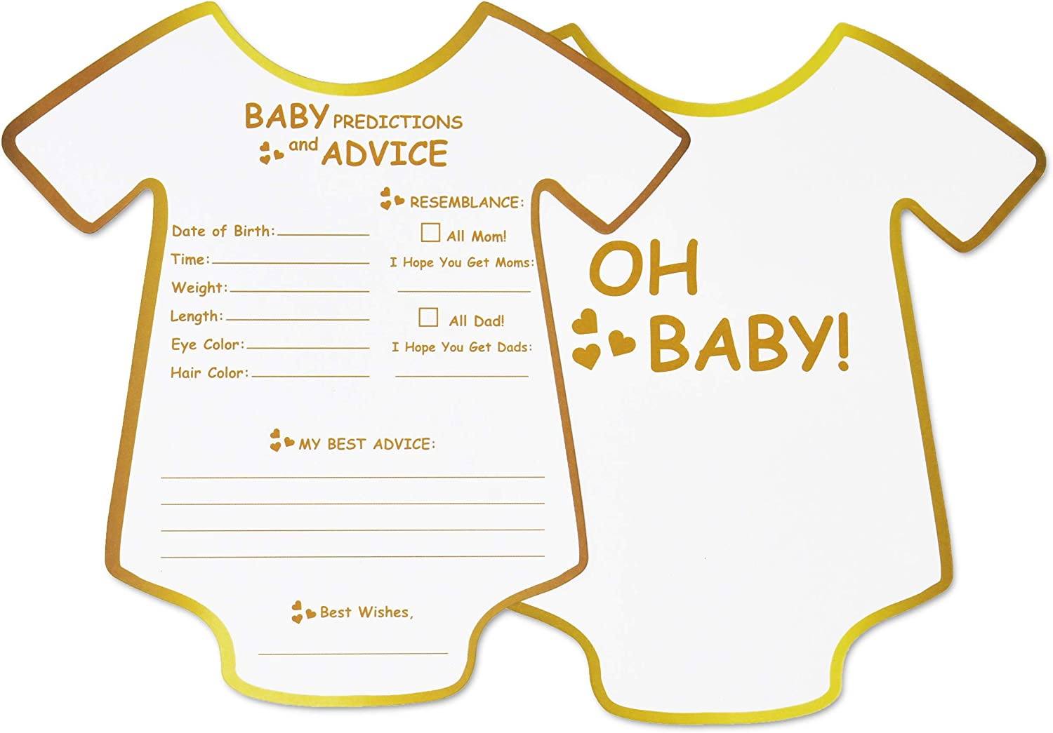 New Mom /& Dad Baby Shower Games for Gender Neutral 50 Gold Baby Prediction and Advice Cards Parents to Be Advice Cards Boys or Party Favors to Play Girls Best Wishes for Baby Mommy /& Daddy