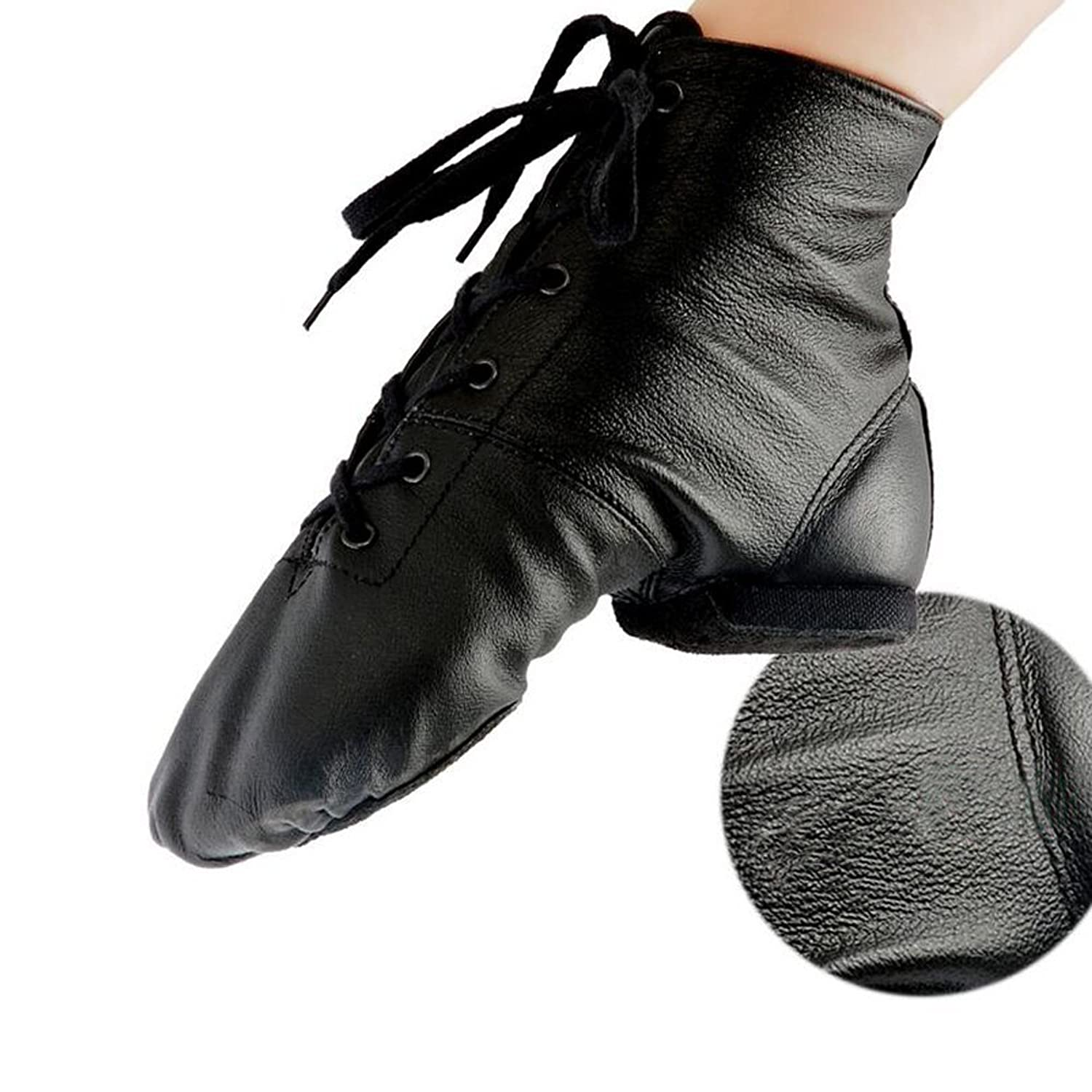 Amazon.com | Women's Leather Soft Soles Flat Dance Shoes Jazz Boots Leather  Practice Dance Shoes | Ballet & Dance