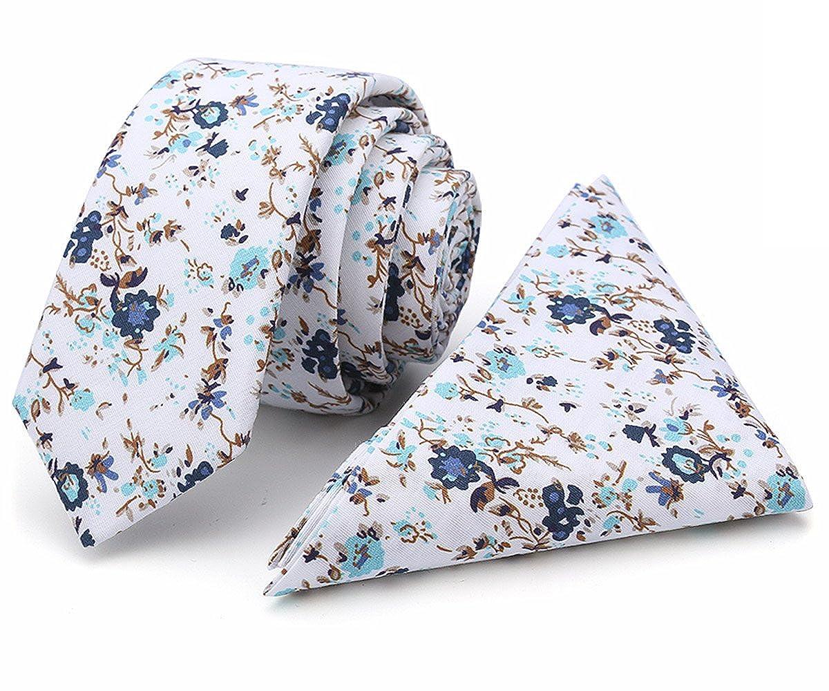 100% Cotton Handmade Skinny Floral Tie with Pocket Square Gift Set BNKT