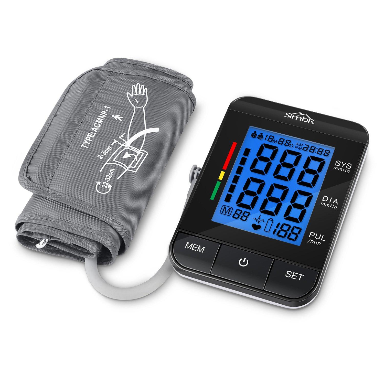 SIMBR Tensiómetro de brazo Digital con Detección de arrítmia y pantalla LCD Retroilumina y Memoria (2×90) con Tecnología Certificada por CE ROHS FDA: ...