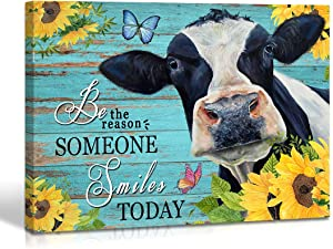 Qute Cow Flower Picture Canvas Print Motivational Quotes Wall Decor Art Sunflowers Animal on Green Wood Board Painting Modern Artwork for Bathroom Living Room Office Decoration, Framed 1 pcs 12x16