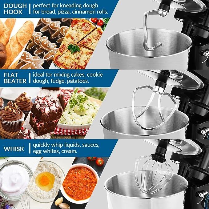 Batidora amasadora, albohes amasadora profesional para Repostería, Bajo Ruido, 3 ganchos, Robot de Cocina Automática Multifuncional, 5,5L, 6 ...