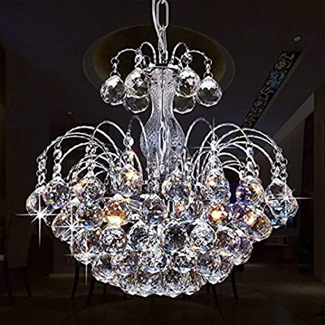 Glighone Lámpara Colgante Cristal 3*G9 40W Lámpara de Techo Luz Moderna Lámpara de Araña Iluminación Contemporáneo Elegante, Incluye Bombillas