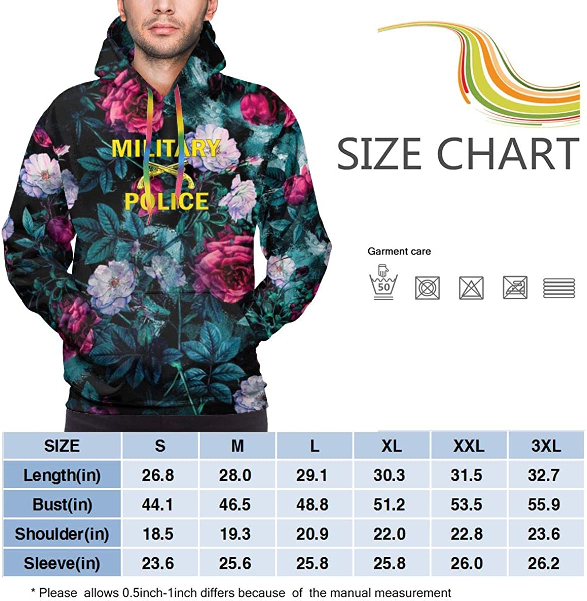 MUSICOT Mens Athletic Pullover Cozy Sport Outwear Military Police Sweatshirt Hoodies