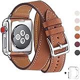 WFEAGL コンパチブル Apple Watch バンド,は本革レザーを使い、iWatch Series4/3/2/1、Sport、Edition向けのバンド交換ストラップです コンパチブル アップルウォッチ バンド (38mm 40mm, 二重巻き型 ブラウン)