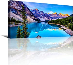 Wall Art Lake Mountain Landscape Picture Print Canvas Wall Art Modern Artwork for Home Decor Stretched And Ready To Hang,2.5cm Thick,Waterproof Artwork