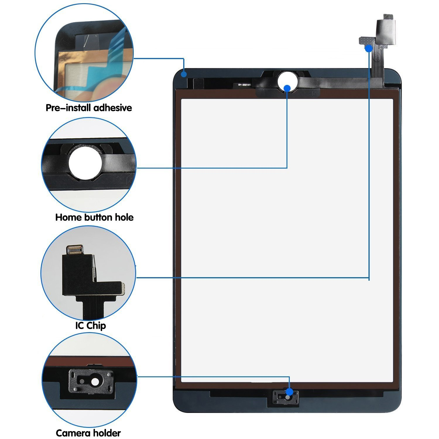 Srjtek Screen Replacement for IPad Mini 3 Touch Screen Digitizer A1599 A1600,Replacement Parts with IC Chip and Camera Holder(Black) by srjtek (Image #2)