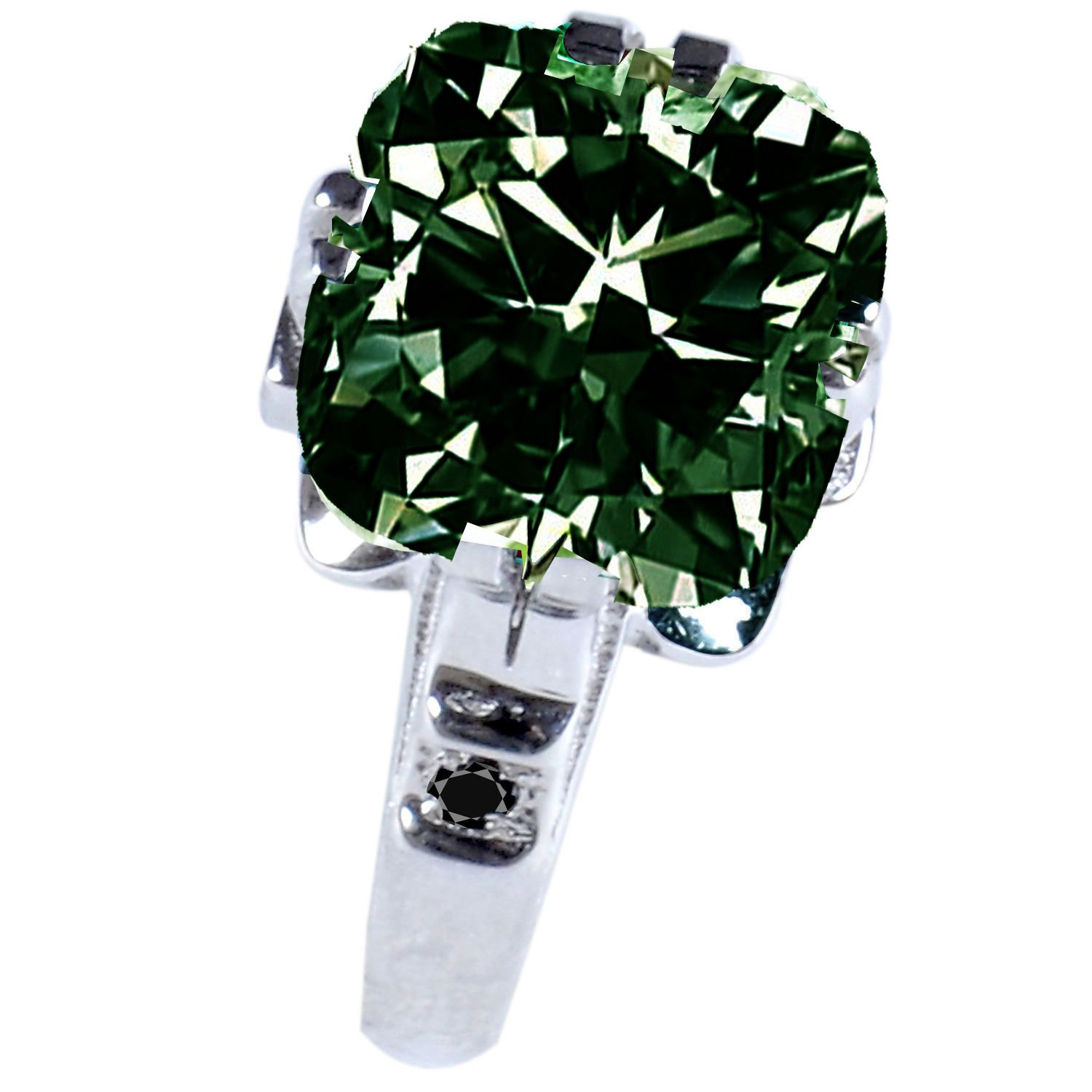 RINGJEWEL 4.66 ct SI2 Cushion Moissanite Solitaire Silver Plated Engagement Ring Dark Green Color Size 7