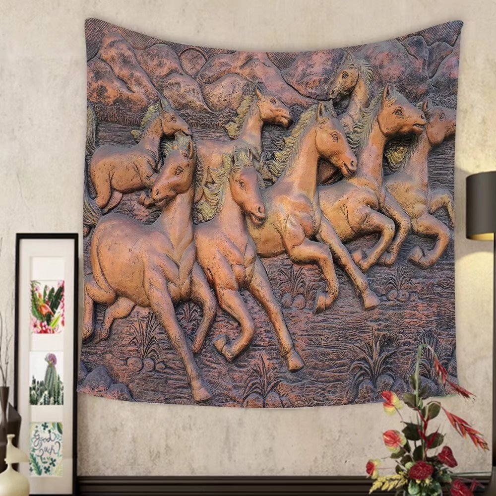 Grace Little Custom tapestry low relief cement thai style handcraft of horse on wall by Grace Little