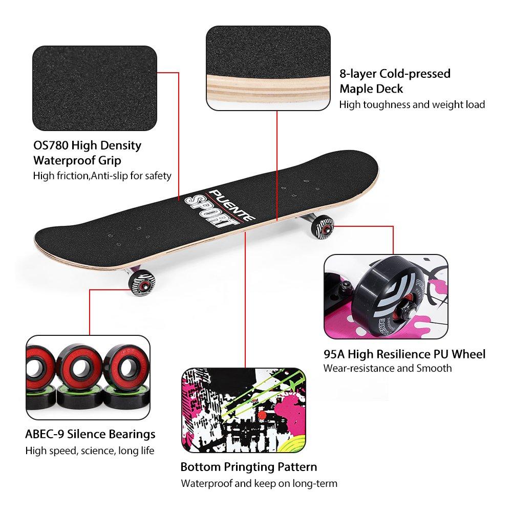 NACATIN Skateboard Completo para Adultos y Niños con Rotamiento 602 y 608 ABEC-9, 92A y 8 Capas de Madera de Arce Monopatin 80x20x11cm, Carga de 180 Kg para ...