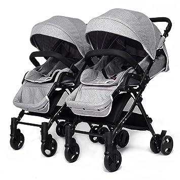 YIHANGG Twins Baby Pram 2 En 1 Cochecito De Bebé Carrito Luxury Reversible Toddler High View Cochecito De Bebé Recién Nacido,Grey: Amazon.es: Jardín