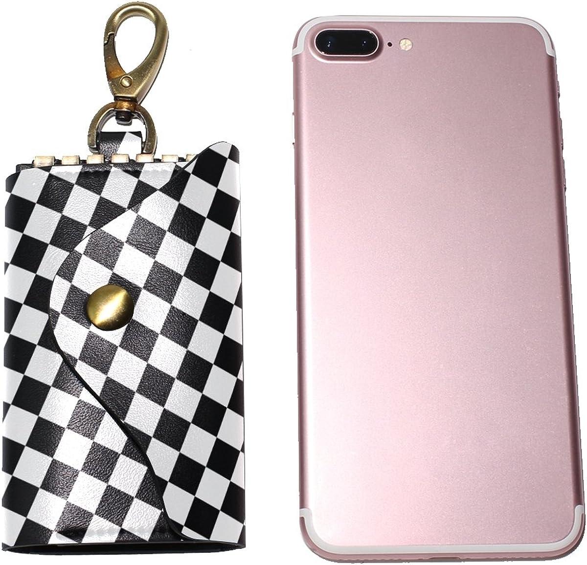 DEYYA Black White Checkered Squares Leather Key Case Wallets Unisex Keychain Key Holder with 6 Hooks Snap Closure