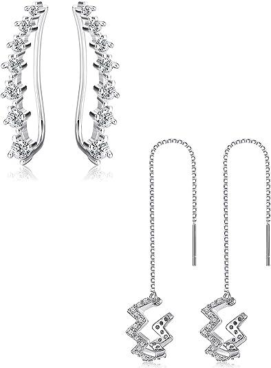 Finreizo 4 Pairs Ear Cuffs Earrings Hoop Climber Earrings Stud Ear Climber Jackets Wave Tassel Threader Chain Earring Set