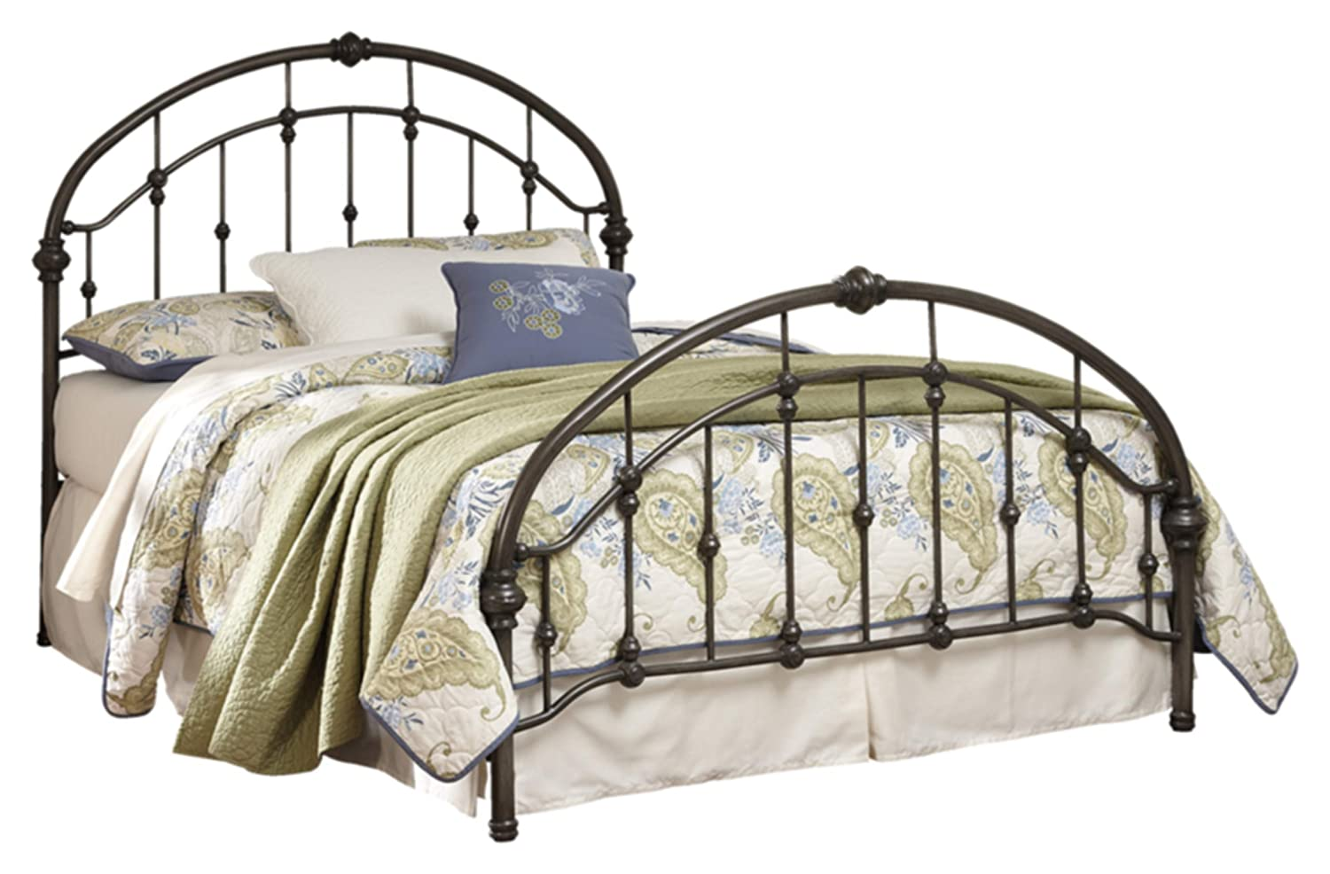 Ashley Furniture Signature Design - Nashburg Metal Headboard and Footboard with Rails - King Size - Component Piece - Vintage Casual - Bronze Finish B280-182