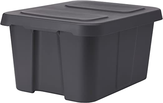 IKEA KLAMTARE - Caja con tapa, de color gris oscuro / al aire libre: Amazon.es: Hogar