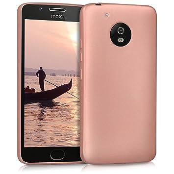 kwmobile Funda para Motorola Moto G5 - Carcasa para móvil en TPU Silicona - Protector Trasero en Oro Rosa Metalizado