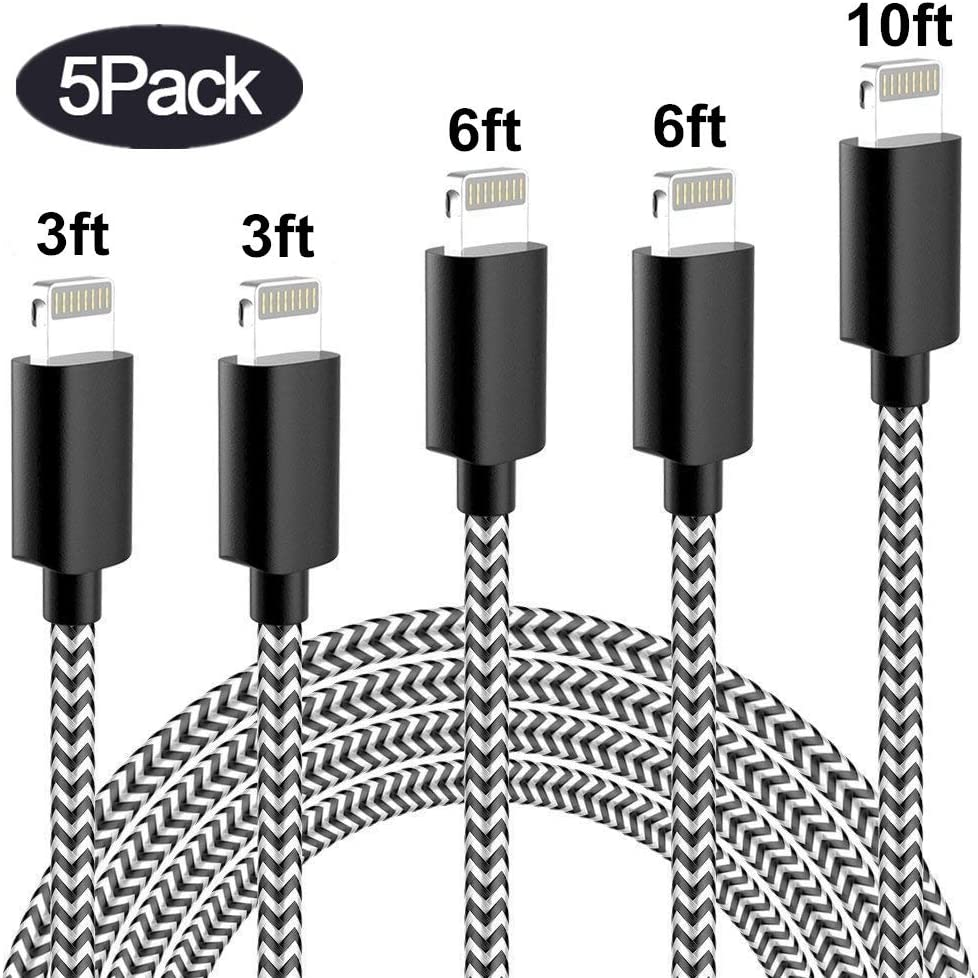 Sharllen MFi Certified 5Pack[3/3/6/6/10FT] Nylon Braided Cell-Phone Charging Cable USB Fast Charging & Syncing Long Cord,iPhone Charger Compatible iPhone XS/Max/XR/X/8/8P/7/7P/6/iPad/iPod Black&White