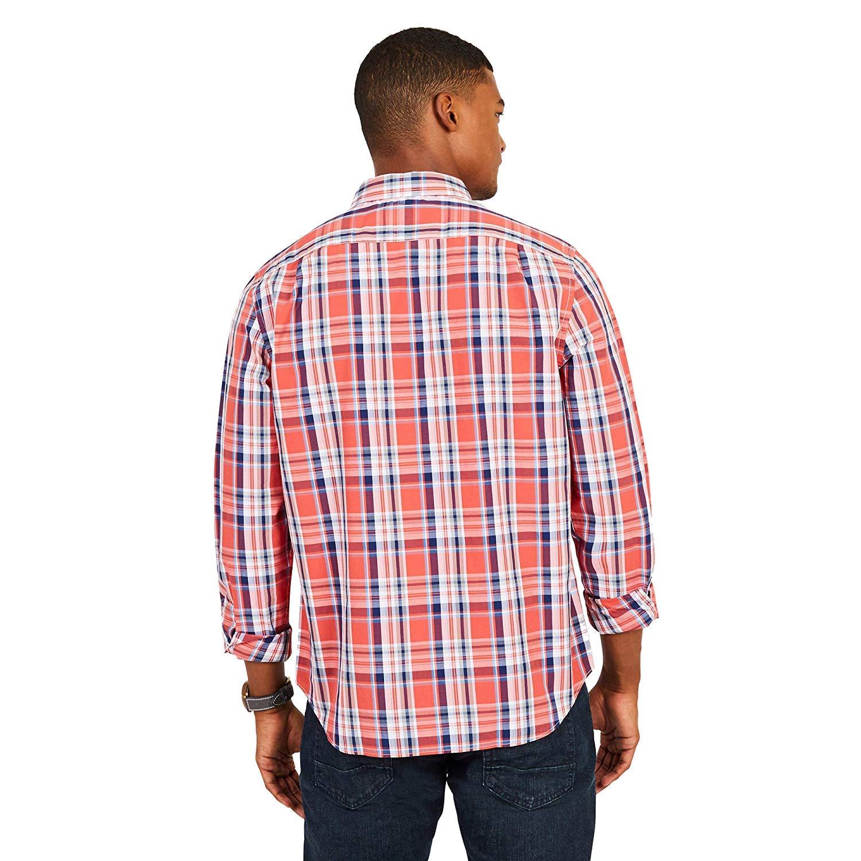 WR8352 Nautica Mens Long Sleeve Classic FIT Plaid Crimson Shirt
