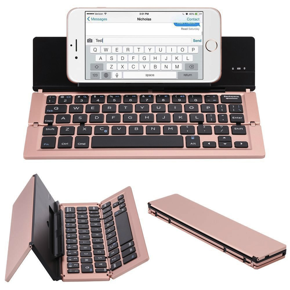 ElementDigital Portable Bluetooth Keyboard Wireless Foldable Keyboard Universal with Phone Stand for New 2017 iPad 9.7, iPad Air, iPad Air 2, iPad Pro 9.7 iOS Android Windows Tablet Phones (Rose Gold)
