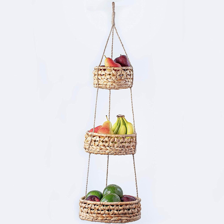 3 Tier Hanging Basket | Natural Woven Seagrass Wicker Baskets | Kitchen Fruit Storage Organizer | Plant Holder | Handmade Modern Boho Home Decor | Countertop Space Saver for Fruits or Vegetables