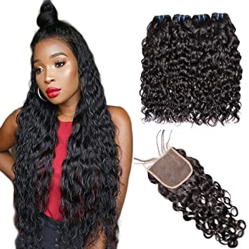 Hair Extensions & Wigs Beaufox Brazilian Water Wave Lace Closure 4x4 100% Human Hair Non-remy Free Part Medium Brown 8-20 Inches