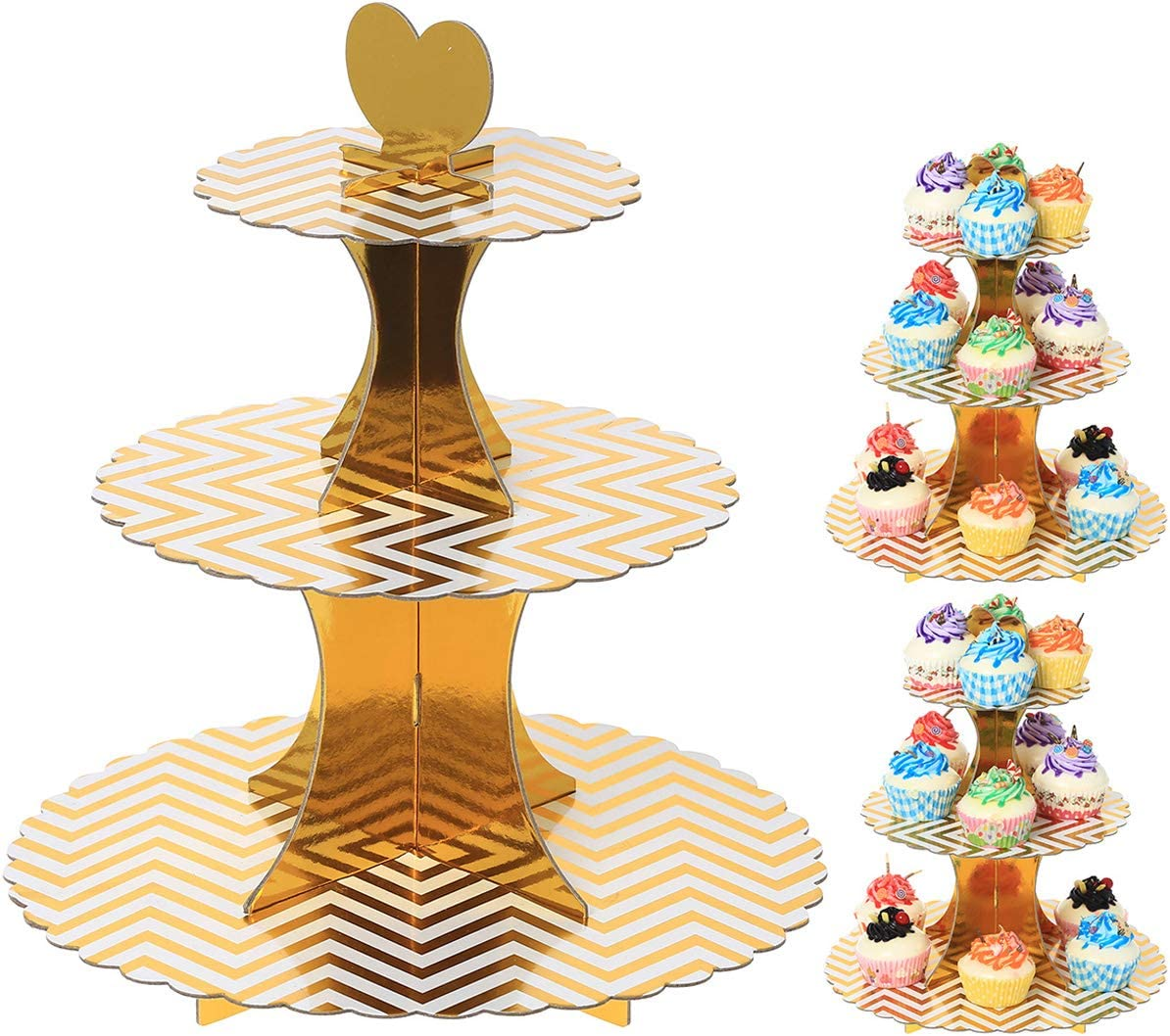 Gold Stripes Birthday Parties Disposable Paper Cupcake Holder Towers for Weddings UltraOutlet Set of Three 3-Tier Cardboard Cupcake Stands Baby Showers and Graduations
