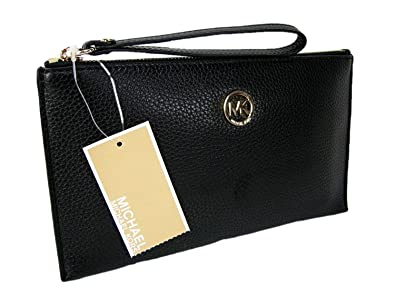 53a332772ea8 Image Unavailable. Image not available for. Color: Michael Kors Logo  Wristlet Purse Genuine Leather Black Gold ...