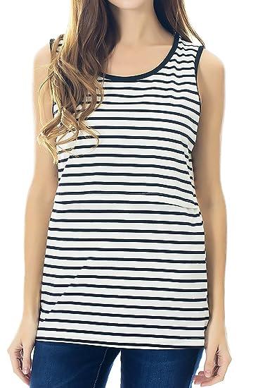 fce26c9a286 Smallshow Women's Maternity Nursing Tank Tops Sleeveless Breastfeeding  Clothes Medium Black Stripe