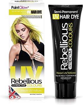 Tinte para el cabello semipermanente amarillo neón UV - Colores rebeldes