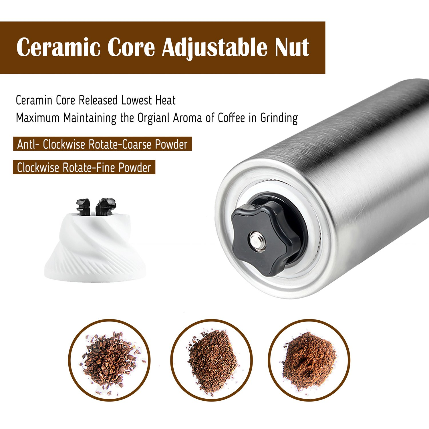 Coffee Grinder, Aessdcan Manual Coffee Mill, Mini Portable Home Kitchen Travel Stainless Steel Coffee Bean Grinder with Adjustable Ceramic Core by Aessdcan (Image #3)