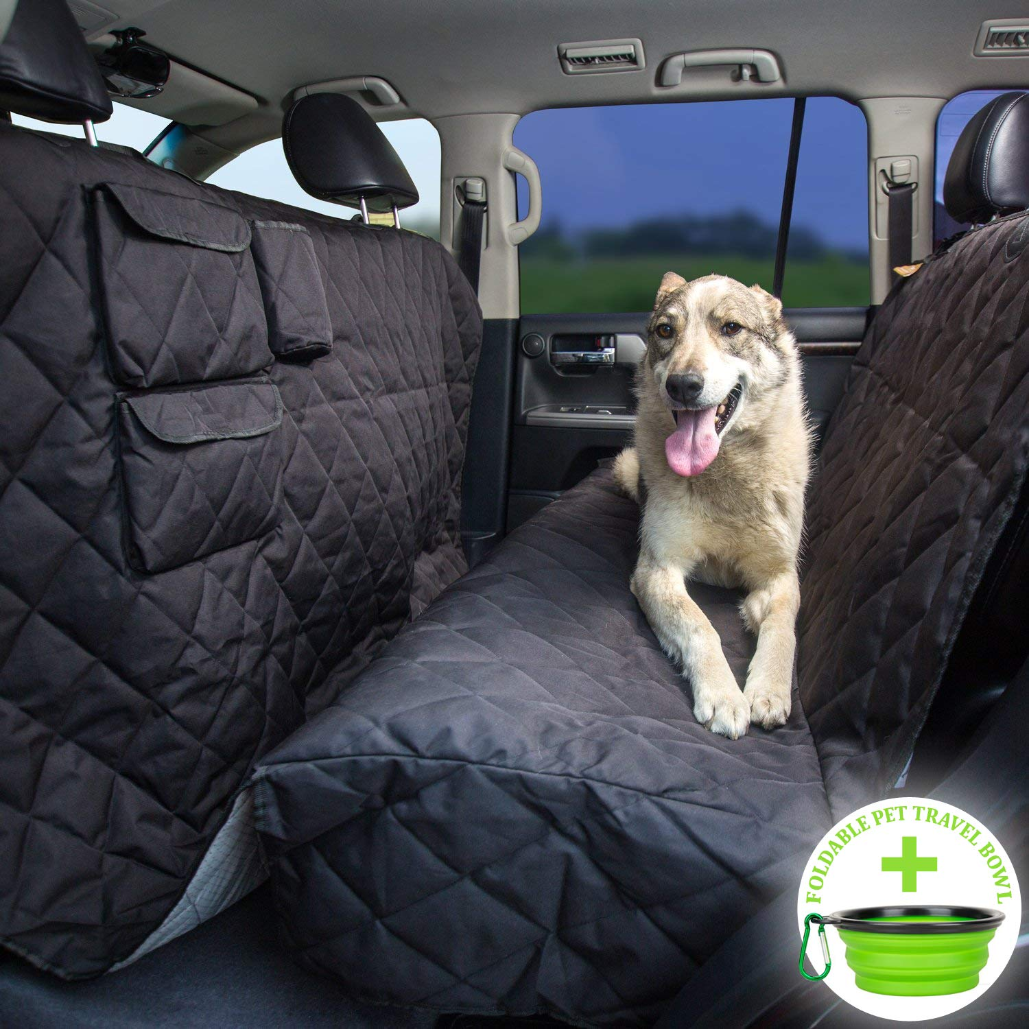 Tapiona XL Dog Seat Cover - Truck & SUV Extra Coverage Back Seat Cover - 56Wx96L - Large Pets Hammock - Heavy Duty, Waterproof, Nonslip, No Odor, Seat Anchors, Washable