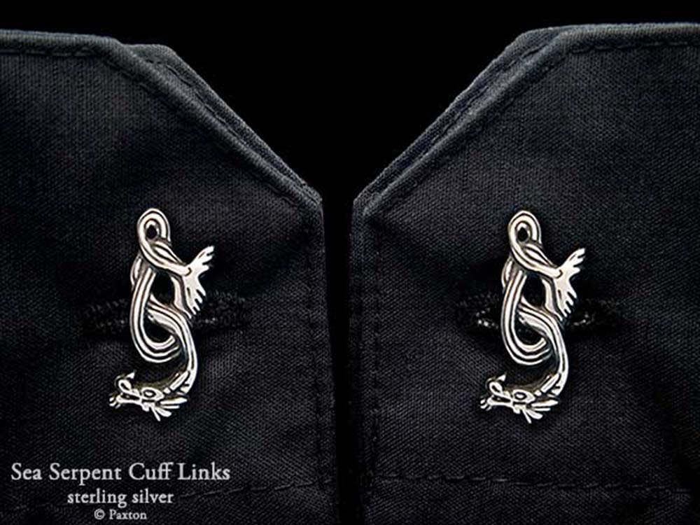 Sea Serpent Cuff Links in Solid Sterling Silver Hand Carved & Cast by Paxton