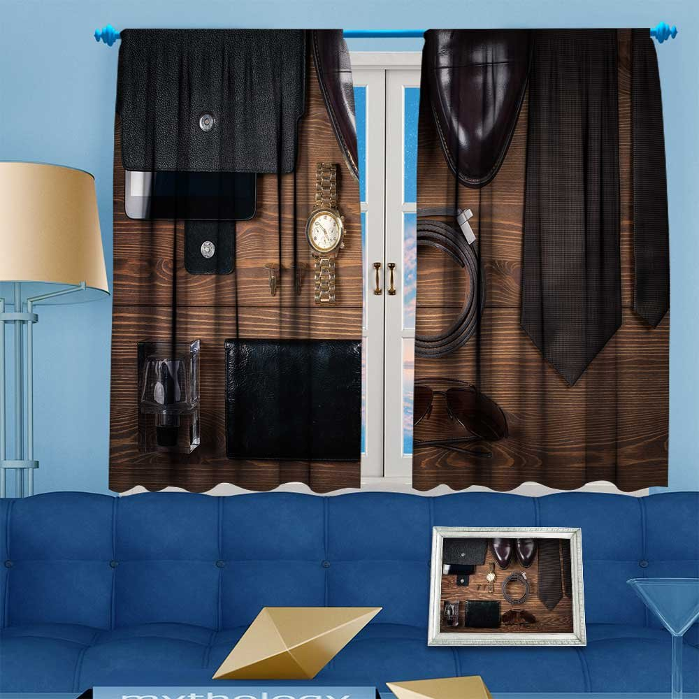 VROSELV Blackout Curtains Thickening Polyester,wood texture men s everyday objects on a background meet accessories Thermal Insulated Grommet for Living Room, 63'' W x 63'' L by VROSELV
