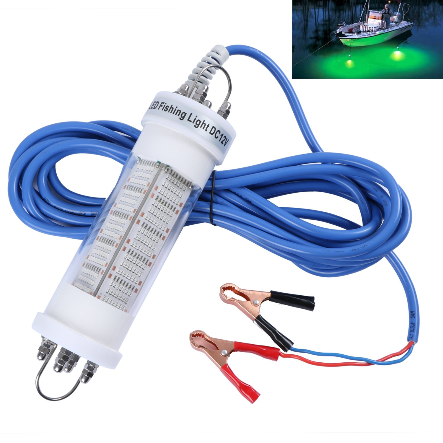 Goture 12V IP68 High-Power LED Fully Submersible Night Fishing Light Deep Drop Underwater Lure Bait Fish Finder Lamp with 5.49 Cable for Krill, Phytoplankton, Squid - Blue
