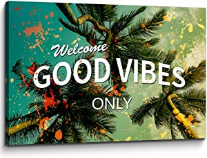 You Hong Modern Motivational Wall Art Welcome Good Vibes Only Inspirational Posters Entrepreneur Office Quotes Canvas Wall Art Entrepreneur Artwork for Office Classroom Decor (12''H x 18''W)