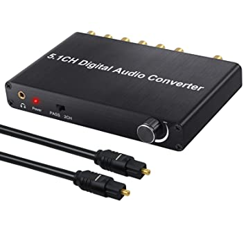 5.1CH Convertidor de Audio Digital 192 KHz Decodificador de Audio con Volumen Ajustable Soporte Dolby