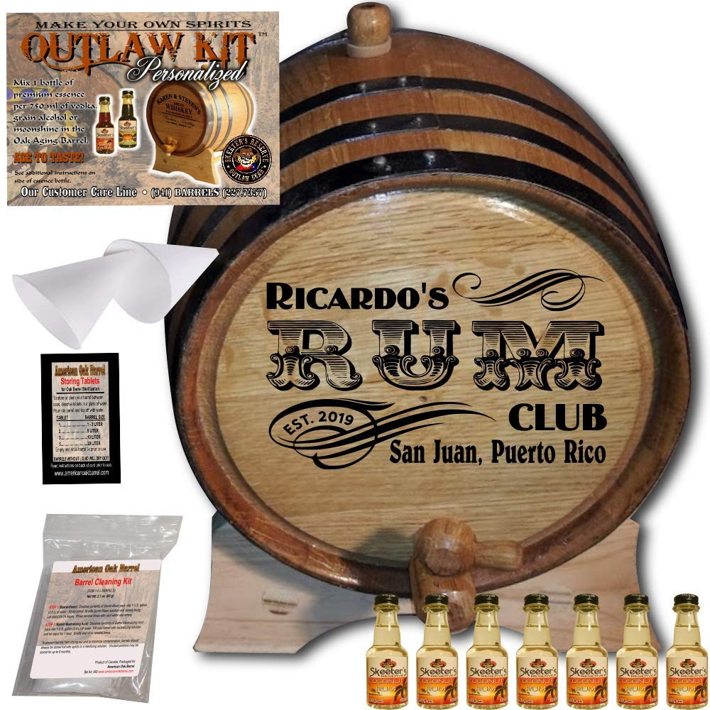 Personalized Rum Making Kit (200) - Create Your Own Coconut Rum - The Outlaw Kit from Skeeter's Reserve Outlaw Gear - MADE BY American Oak Barrel - (Oak, Black Hoops, 5 Liter)