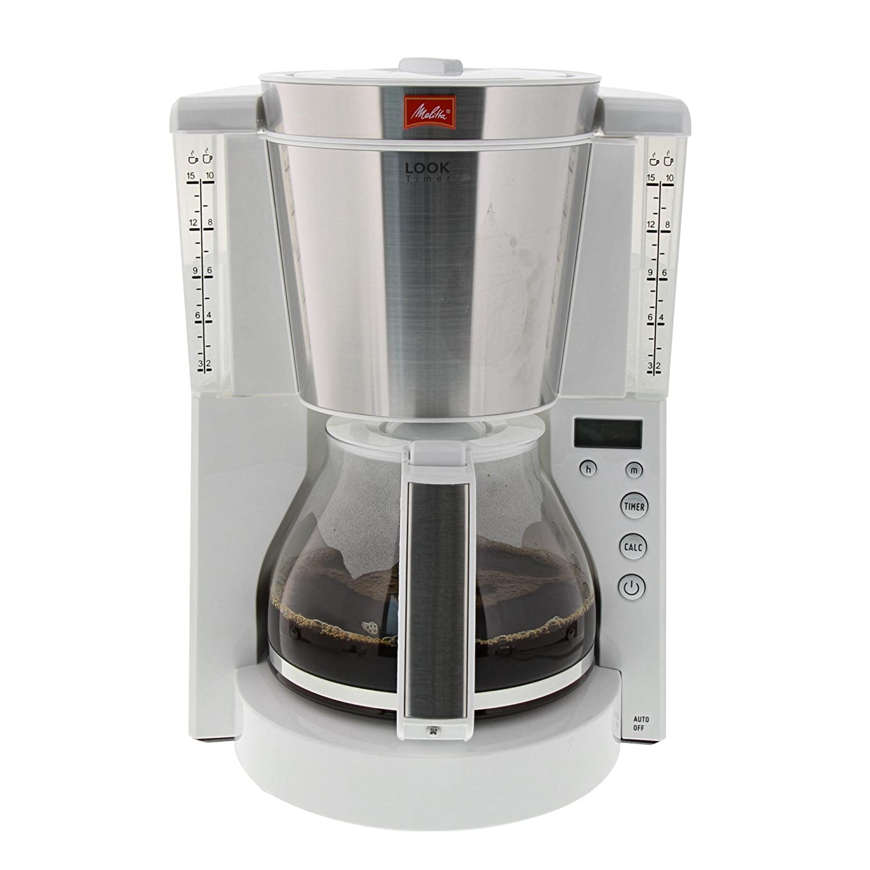 Melitta Cafetera de filtro con jarra de vidrio, Función temporizador y conservación de temperatura, Selector de aroma, Look Timer, Blanco/Acero inoxidable ...