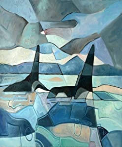 Sayakki Poster Wall Art 24 X 36 Inch Abstract Painting Two Killer Whales Swimming Oil Canvas Perfect Print Artwork Suitable Bedroom Home Office Decorative Arts Unframed Gift