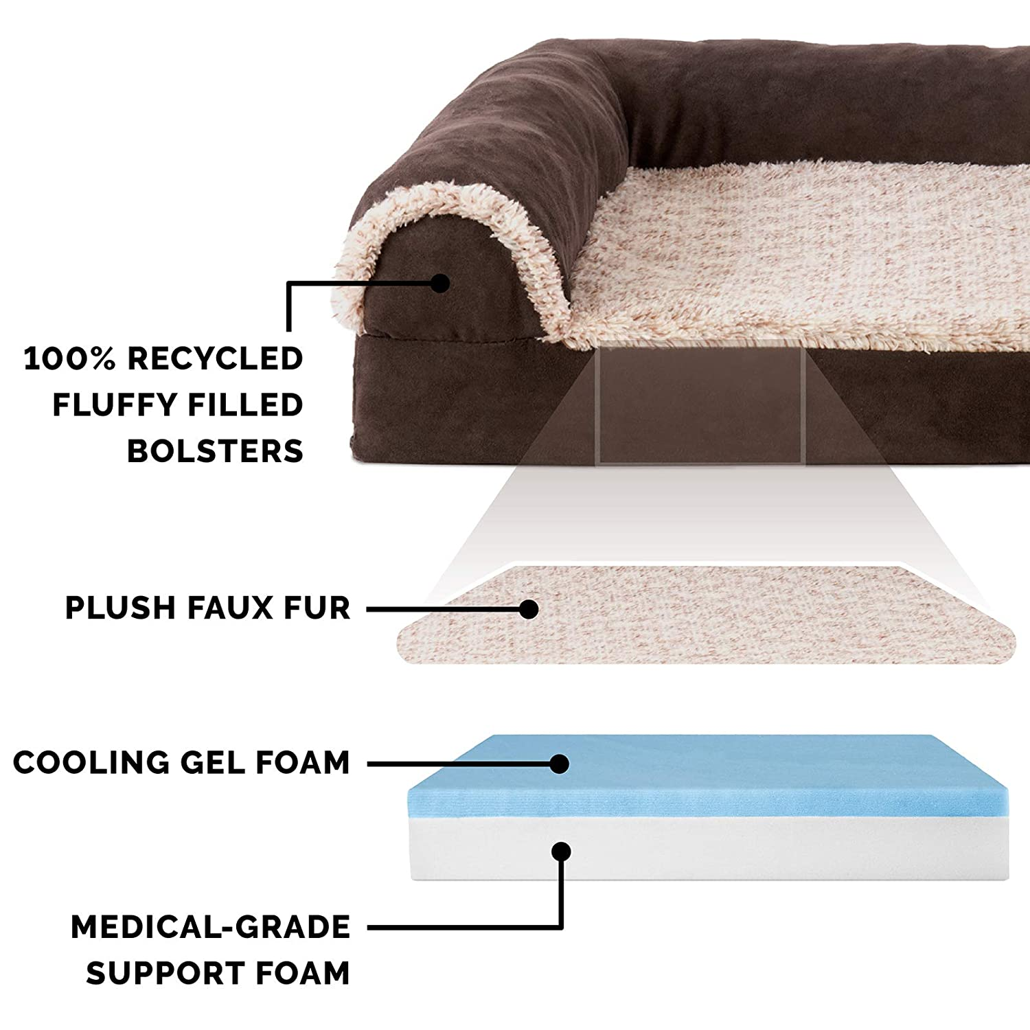 Fleece Blue Small FurHaven Deluxe Orthopedic Chaise Couch Pet Bed for Cats and Dogs