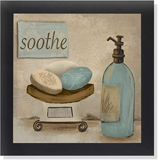 Amazon Com Soothe Spa Bathroom Black Framed Art Print Poster 12x12 Posters Prints