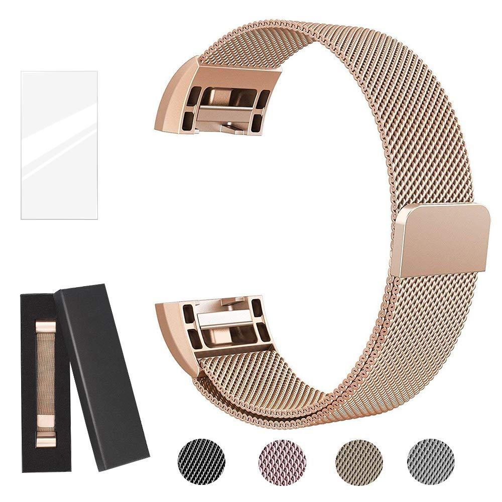 super vaule Fitbit Charge2 cinturini di ricambio, Milanese Loop Bracciale in acciaio inox Smart cinturini da polso con magnete unico per Fitbit Charge 2