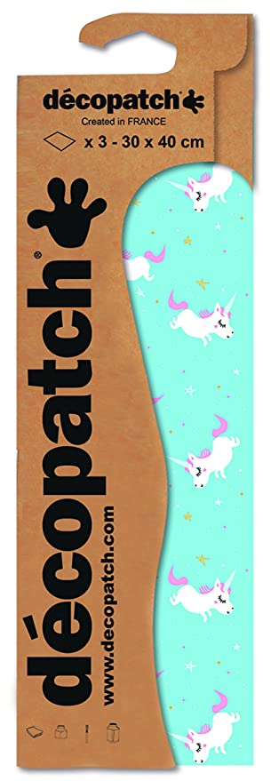 Decopatch Papier No blau Einhorn, 395 x 298 mm 3er Pack 727
