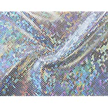 Shattered Glass Hologram Stretch Fabric by the yard (10 yards, Silver/White)
