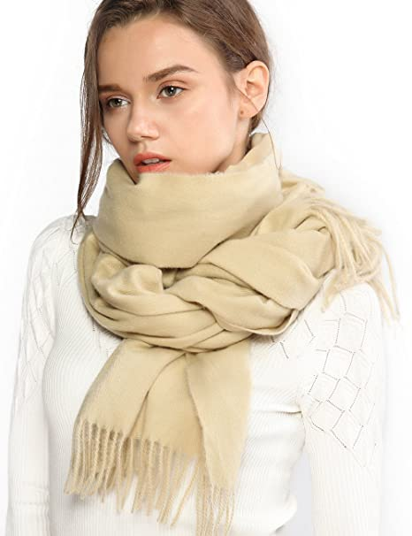 d8558bb0e Winter Cashmere Wool Beige Scarf Pashmina Shawl Wrap Stole for Women Feel  Warm Tick Large Scarves