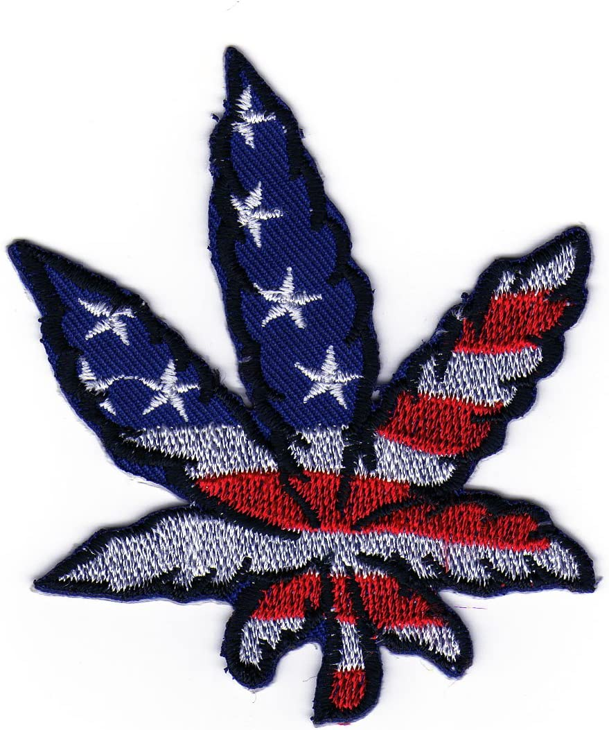 Aufn/äher B/ügelbild Aufb/ügler Iron on Patches Applikation Biker Cannabis Hanfblatt Flagge Usa