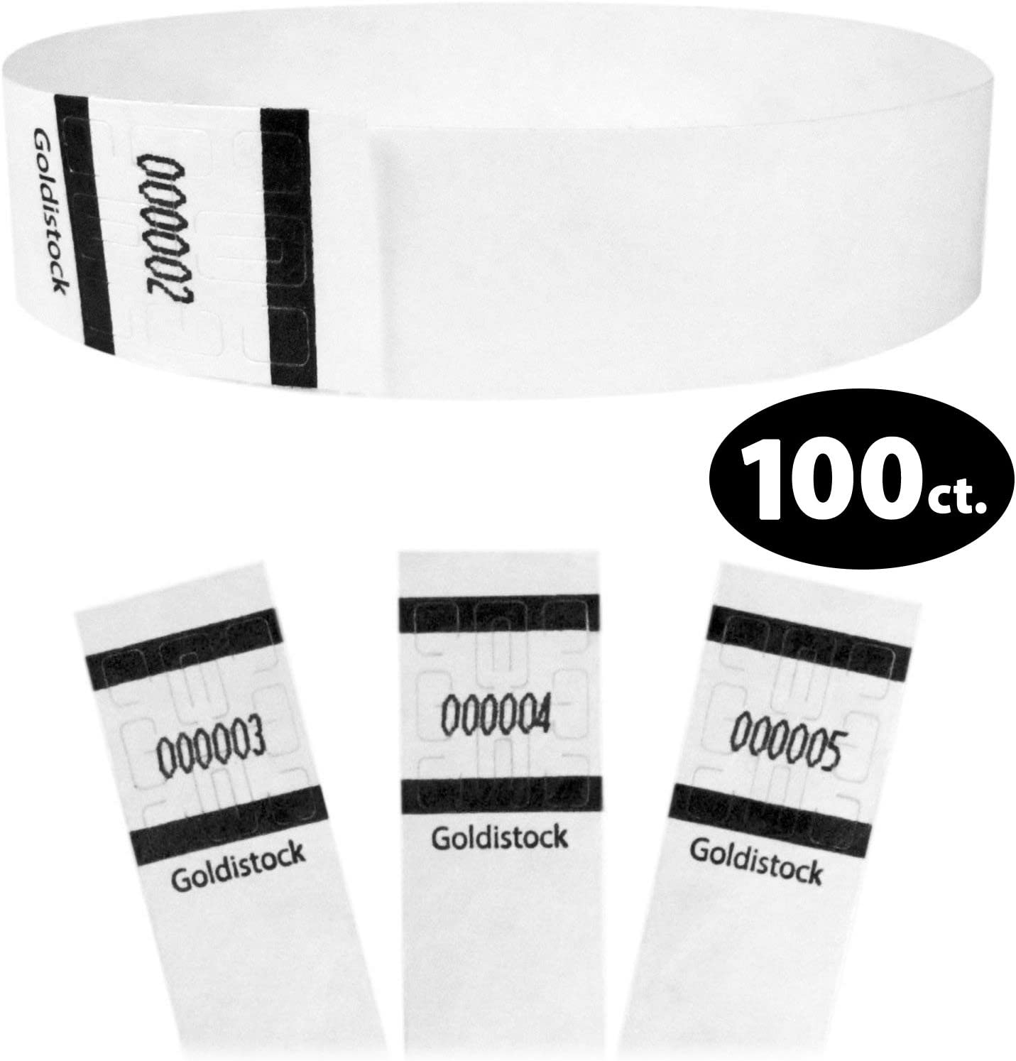 """Heavier Tyvek Wristbands 7.5 Mil - Goldistock Original Series Formal White 100 Count - ¾"""" Arm Bands - Paper-Like Party Armbands - Heavier Tyvek Wrist Bands = Superior Events"""