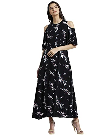 655122fb3c Zink London Black Floral Print Cold Shoulder Maxi Dress for Women (Small)