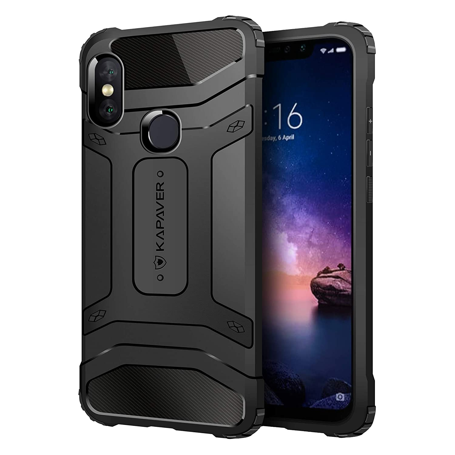 outlet store 47d5b 17688 KAPAVER® Xiaomi Redmi Note 6 Pro Rugged Back Cover Case MIL-STD 810G  Officially Drop Tested Solid Black Shock Proof Slim Armor Patent Design  (Only ...